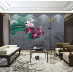 Papier peint chinois - Paysage avec les fleurs et les oiseaux fond gris