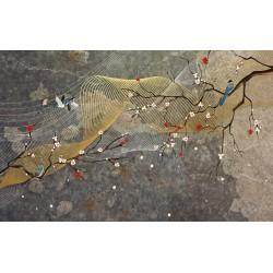Papier peint japonais fleurs et oiseaux  - Souffle de vent