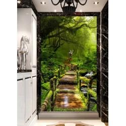 Papier peint photo paysage nature format portrait (vertical)  - Pont en bois dans la forêt