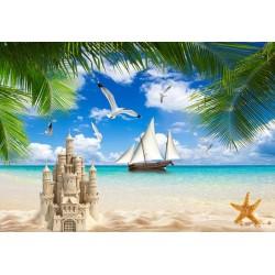 Papier peint photo paysage tropical - Château de sable sur la plage