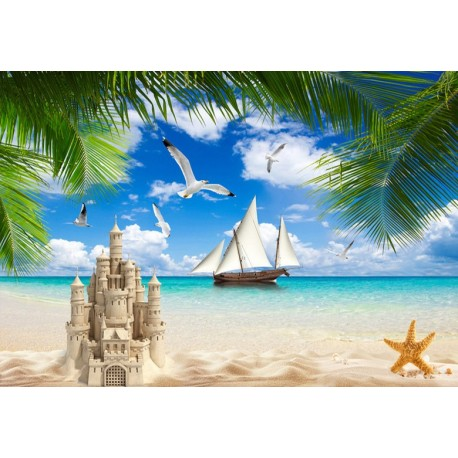 poster g ant chambre d 39 enfant paysage tropical ch teau de sable sur la plage papier peint sol 3d. Black Bedroom Furniture Sets. Home Design Ideas