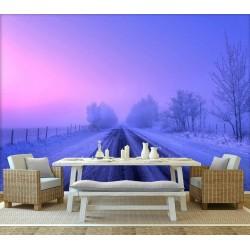 Papier peint photo paysage romantique violet - La neige au coucher de soleil
