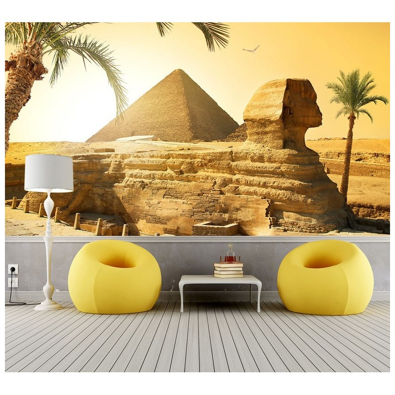 d coration murale t te de lit panoramique papier peint photo personnalis la pyramide. Black Bedroom Furniture Sets. Home Design Ideas