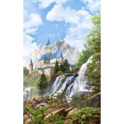 Papier peint photo paysage féerique - Château dans la montagne, chute d'eau