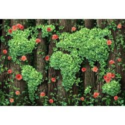 Revêtement de sol trompe l'oeil 3D  - Carte du monde dessinée par les feuilles et les fleurs