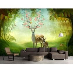 Décoration murale chambre d'enfant paysage féerique - La Maman daim et son bébé dans la forêt