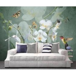 Papier peint d'artiste issu d'un tableau de peinture - Les orchidées blanches, les papillons et le colibris