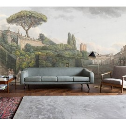 Papier peint d'artiste issu d'un tableau de peinture - Jardin avec labyrinthe et le pin parasol