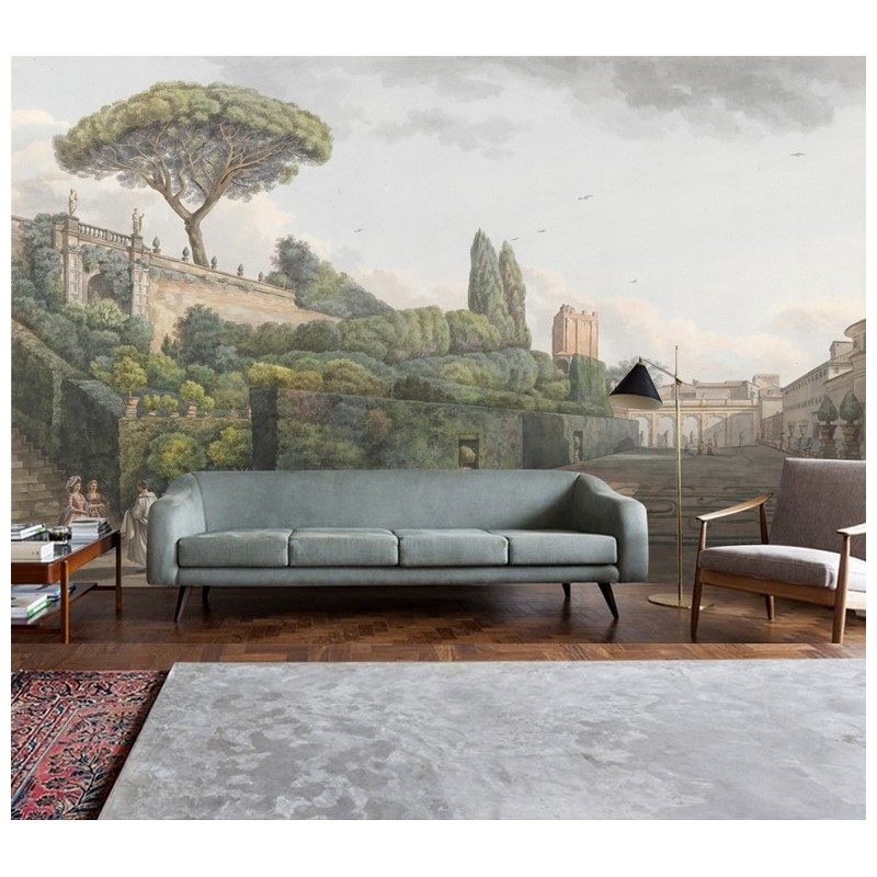 papier peint vintage tapisserie panoramique paysage ancien jardin de noble avec labyrinthe. Black Bedroom Furniture Sets. Home Design Ideas