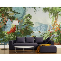 Papier peint d'artiste issu d'un tableau de peinture - Rivière dans la jungle tropicale