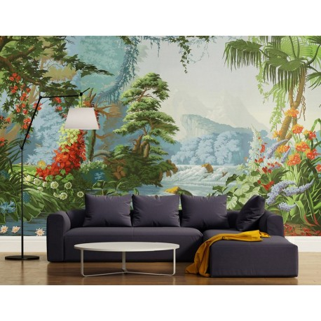 papier peint d 39 artiste tapisserie panoramique paysage de la jungle papier peint sol 3d. Black Bedroom Furniture Sets. Home Design Ideas