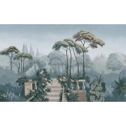 Papier peint classique aspect ancien issu d'un tableau de peinture - Terrasse dans la forêt