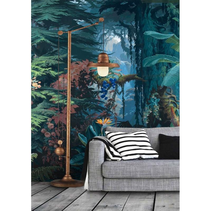Paysage Foret Tropicale Papier Peint Jungle Ton Bleu Vert Atelier Wybo