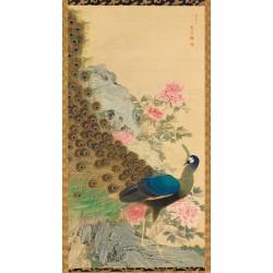 Papier peint japonais issu d'un ukiyo-e format vertical (portrait) - Le paon sur le rocher avec les pivoines