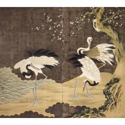 Papier peint japonais 2 volets issu d'un ukiyo-e - Les grues sous l'arbre de mei au bord de l'eau