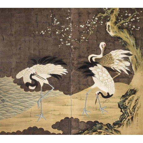 estampe japonaise ancienne ukiyo e papier peint design tapisserie murale les grues du japon et. Black Bedroom Furniture Sets. Home Design Ideas