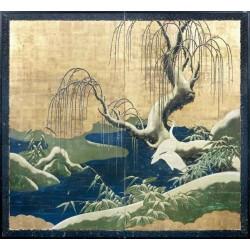 Papier peint japonais 2 volets issu d'un ukiyo-e - Les aigrettes sous la neige