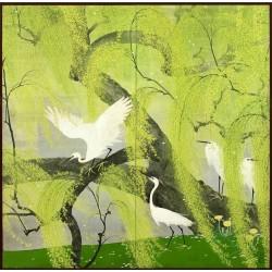 Papier peint japonais 2 volets issu d'un ukiyo-e - Les aigrettes sur le saule pleureur en printemps