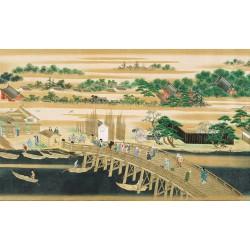 Papier peint japonais issu d'un ukiyo-e - Les villageois sur le pont