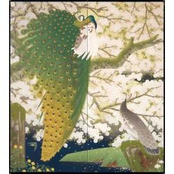 Papier peint japonais 2 volets issu d'un ukiyo-e - Les paons et le cerisier