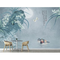 Papier peint chinois zen fleurs et oiseaux - Les orchidées et les canards mandarins dans la nuit