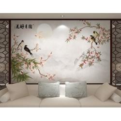 Papier peint chinois zen fleurs et oiseaux - Les fleurs de pêcher et les oiseaux
