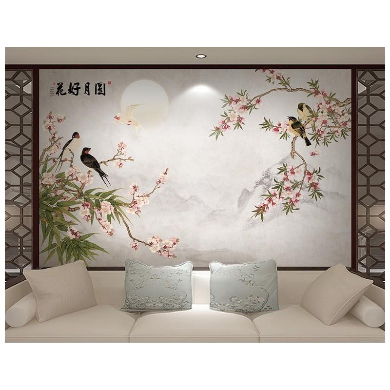 Papier Peint Vinyle Intisse Fleur Et Oiseau Sticker Mural Zen Les