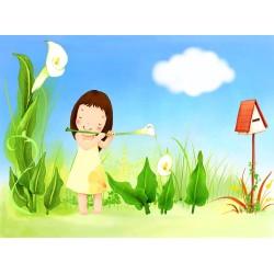 Papier peint féerique chambre fille - petite musicienne