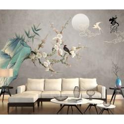 Papier peint chinois zen fleurs et oiseaux - Les fleurs de mei et les oiseaux