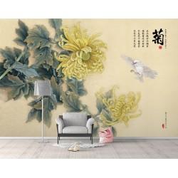Papier peint chinois zen fleurs et oiseaux - Les fleurs jaunes et l'oiseau blanc