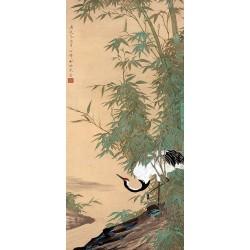 Peinture chinoise format portrait (vertical) - La grue sous les bambous