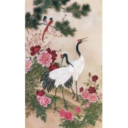 Peinture chinoise zen fleurs et oiseaux - Les grues, les pivoines et les oiseaux