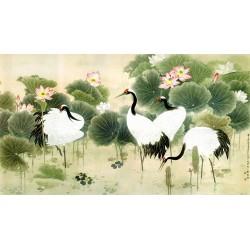 Peinture chinoise ancienne - Les grues dans l'étang avec les lotus