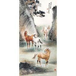 Peinture chinoise ancienne format portrait (vertical) - Les 4 chevaux