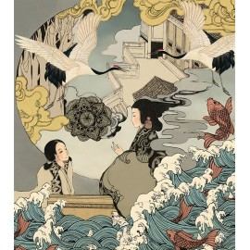 Papier peint japonais format portrait (vertical) - La conteuse