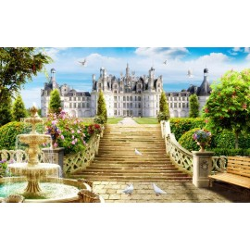 Paysage trompe l'œil 3D - Château et son jardin avec la fontaine