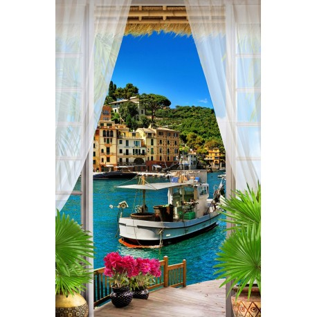papier peint photo personnalis poster g ant mural paysage trompe l 39 il sur le balcon. Black Bedroom Furniture Sets. Home Design Ideas