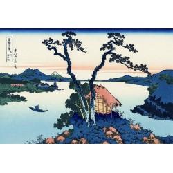 Papier peint japonais paysage bleu issu d'un ukiyo-e - Le lac de Suwa