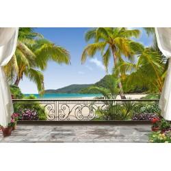 Paysage tropical trompe l'oeil 3D - La plage est devant mon balcon