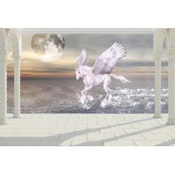 Papier peint 3D - Cheval ailé au crépuscule