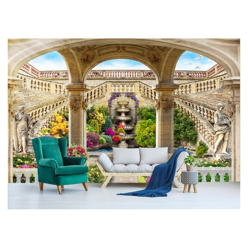 papier peint photo personnalis tapisserie panoramique trompe l 39 oeil 3d jardin classique. Black Bedroom Furniture Sets. Home Design Ideas