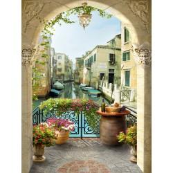 Papier peint photo trompe l'oeil 3D format portrait (vertical) - Le canal de Venise vue depuis mon balcon