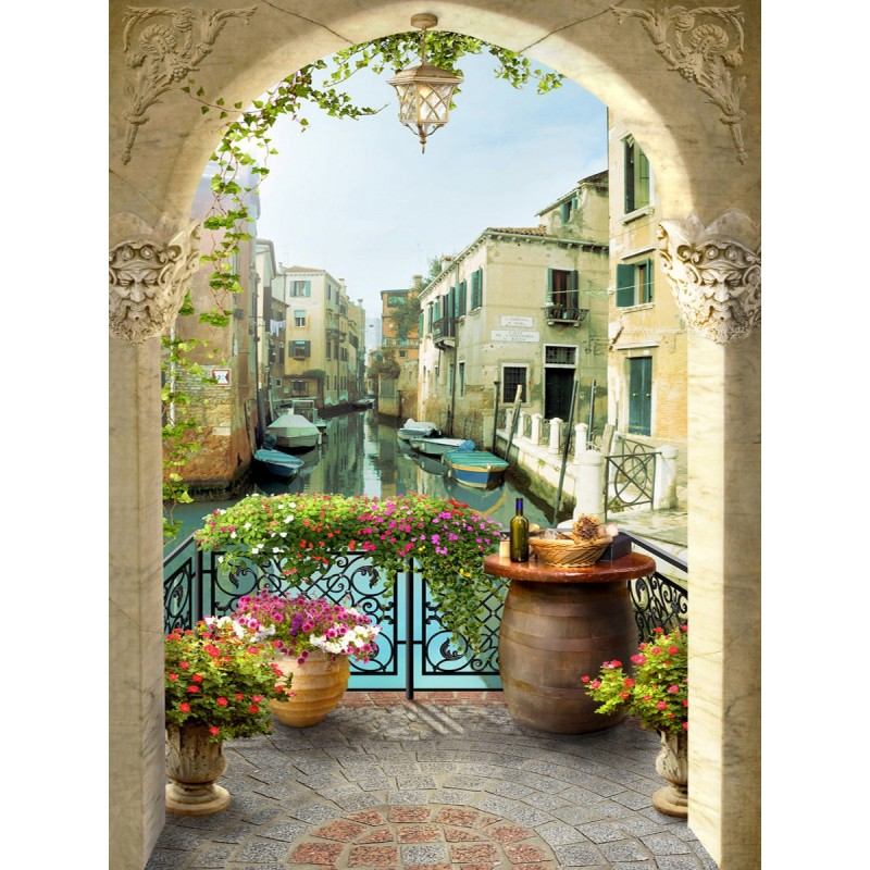 papier peint vinyle intiss personnalis tapisserie photo murale paysage trompe l 39 oeil le canal. Black Bedroom Furniture Sets. Home Design Ideas