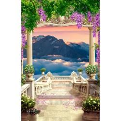 Paysage romantique trompe l'oeil 3D format portrait (vertical) - L'escalier descendant vers la montagne