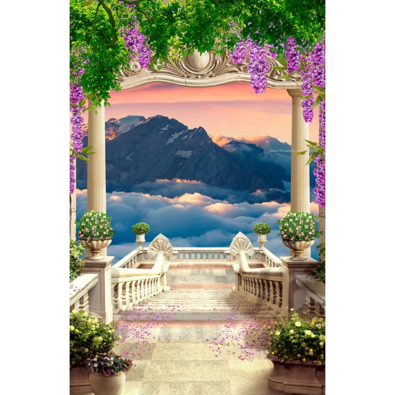 papier peint photo 3d personnalis tapisserie romantique paysage trompe l 39 oeil escalier montagne. Black Bedroom Furniture Sets. Home Design Ideas