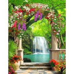 Papier peint photo trompe l'œil 3D format portrait (vertical) - Jardin floral avec chute d'eau