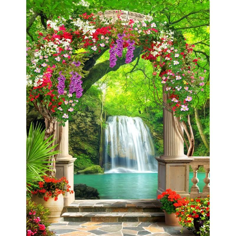 Paysage trompe l\'oeil 3D jardin botanique fleur chute d\'eau - Papier ...