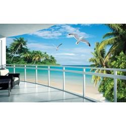 Papier peint photo trompe l'œil 3D - Plage tropicale vue depuis le balcon
