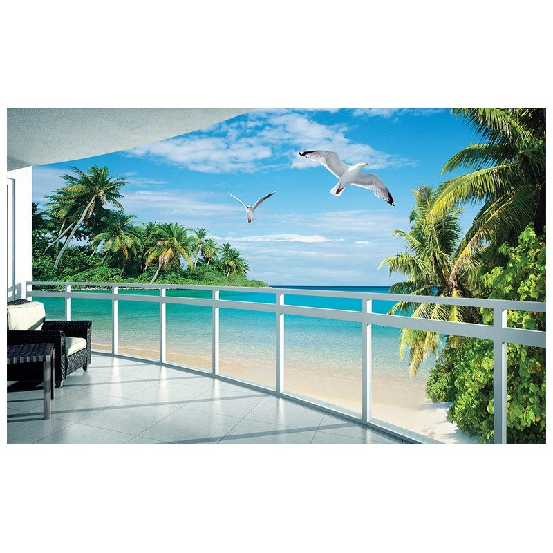 papier peint photo personnalis sticker murale extension d 39 espace paysage trompe l 39 oeil plage. Black Bedroom Furniture Sets. Home Design Ideas