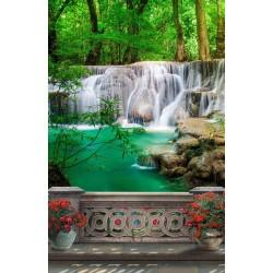Papier peint photo trompe l'œil 3D format portrait (vertical) - Chute d'eau dans la forêt tropicale vue depuis le balcon